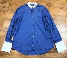 "Yves Saint Laurent Shirt Grandad Collar Stripe Vintage Blue 17"" XL"