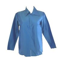 NEW Karen Kane Large 100% Silk Tunic Jacket Top Breeze Blue Long Dressy Crepe
