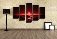 Abstract Home Wall Decor Art Oil Paintings on Canvas NO FRAME Red Sunrise Scene