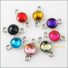 8 New Charms Tibetan Silver Acrylic Round Pendants Connectors Mixed 10x18.5mm