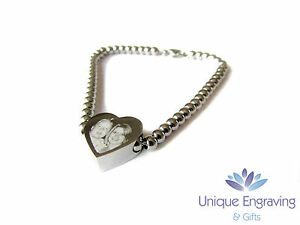Personalised Photo / Text Engraved Heart Charm Bracelet - Ideal Mothers Day Gift