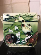 MOORCROFT Trial Biscuit Box 243/4 Swaledale Square Pot Rough Collie Lassie Sheep