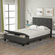 Upholstered Full/Queen Size Platform Bed with Storage Case Bed Frame US Stock