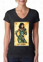 Loteria La Dama V-NECK WOMEN T-Shirt Day Of Dead Mexican Bingo Tee Ladies Shirt