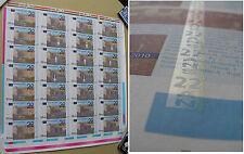 feuille de 28 billets commémoratif de la Banque de France BDF 22 ans . testnote