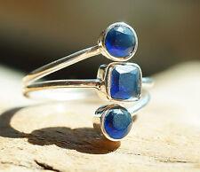 Silberring Saphir 55 Handarbeit Breit Blau Silber Ring Schlicht Modern Glanz