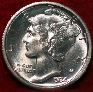 Uncirculated 1934-D Denver Mint Silver Mercury Dime