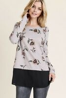 NWT Small Women's Pink Floral Long Sleeve Top Boutique Blouse