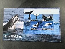"""Niue - """"WHALES ~ WHALE WATCHING"""" MS FDC First Day Cover 2010 !"""