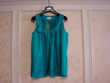 NWT KATE SPADE CELESTA 100% SILK TOP BLOUSE L  BLUE TEAL