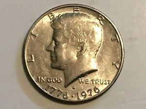 1976 D Kennedy Half Dollar reverse struck though grease error coin in Hall & sta
