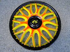 "4 hammergeile Design Radkappen 15 Zoll Orden orange/gelb/black ""SUMMER 2013"" RS"
