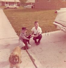 Vintage Color Real Photo- Outdoors- Youth- Old Car- Tailfins- Cowboy Hat- Dog
