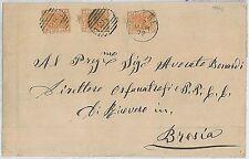 ITALIA REGNO:  Sassone 28 x 3 su BUSTA con annullo numerale 1284: LOVERE