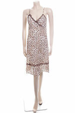 Ladies Evie Size 10 12 Brown Animal Print Summer Dress Cotton Party Frock