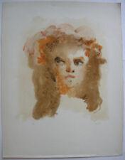 Leonor Fini (1907-1996) Gesicht in Braun und Orange Orig. Lithografie signiert