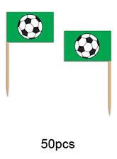 50 PCS FOOTBALL SOCCER SANDWICH PICK FOOD GREEN FLAGS Euros Birthday Party 60098