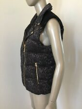 NWT JUICY COUTURE LEOPARD PUFFER VEST GUNMETAL SILVER XL WOMENS $228