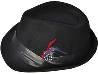 Men Wool Blend Fedora Hat Panama Trilby Cap with Band, Black Red Fur