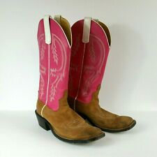 10e093f05 Anderson Beans Womens Size 9 Pink Brown Leather Pull-on Square Toe Cowgirl  Boots