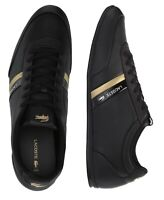 Lacoste Men Shoes Storda 120 1 Black Gold Leather Casual Sneakers NEW