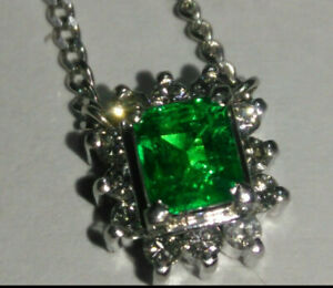 """Solid platinum natural emerald and diamond pendant necklace 4.46 grams - 15.5"""""""