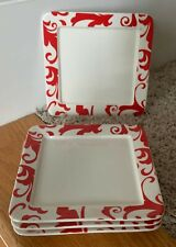 "Ciroa FIORI RED 6"" Square Appetizer Plates Set of 4"