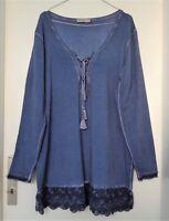 TREDY-Long Shirt/Tunika mit Spitze+Schnürung! Jeans-Blau-48/50! Gipsy/Lagenlook