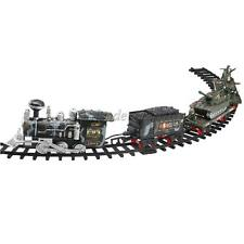 Electric Military Track Train Set w/Smoke Diecast Vehicels Playset Xmas Gift