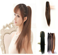 85g-135g Thick Straight Claw Jaw Clip On Ponytail 100% Human Remy Hair Extension