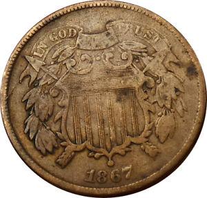 1867 2 Cent Shield Fine/VF Details- bxe