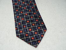 CLAUDIO GATTI Designer 100% Silk Neck Tie Hand Made Navy Blue w/Red & Yellow