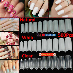 500 Artificial French False Acrylic Nail Art Tips White Clear Natural UV Gel Set