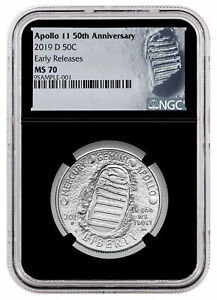 2019 D Apollo 11 50th Clad Half Dollar NGC MS70 Early Releases Black Core