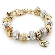 Gold Plated Snake Chain Glass Beads I Love You Charm Beaded Bracelets Women