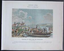 1890ca PASSAGE DU RHIN PAR LES PRUSSIENS 1792 typogravure France Alsace
