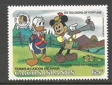 Caicos #82 (C10) VF MINT NH - 1985 65c Mark Twain, Mickey and Donald Duck