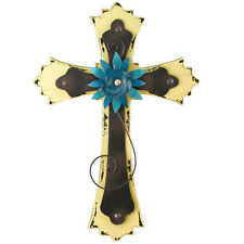 Wall Cross Yellow - shabby Chic Style - Wood & Metal - Regal Art & Gift Brand