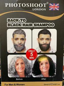 PHOTOSHOOT MEN& WOMEN BACK TO BLACK HAIR DYE SHAMPOO (PACK OF 2) 25ML **NEW**
