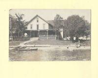 IL Crystal Lake 1908-39 RPPC real photo postcard BURRS LAKE SHORE HOUSE ILLINOIS
