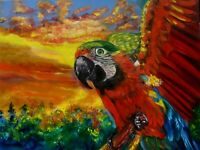 """MACAW BIRD"" Realism, Original Oil Painting One of a Kind, Signed ART DECO"