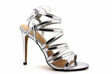 New Look Womens UK 6 EU 39 Silver Faux Leather Gladiator Style Stiletto Sandals