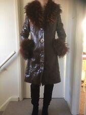 Vintage Fox Fur Leather Coat (Peaky Blinders Style) Fits Size 8-10. Very Warm