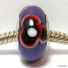 Opaque Purple with Flowers Murano Glass European Bracelet Charm Bead