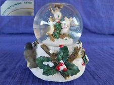 "Fitz & Floyd Snow Globe Charming Tails ""We Wish You A Merry Christmas"" Music Box"