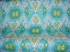 11+Y P KAUFMANN / WAVERLY ENLIGHTENMENT JADE IKAT COTTON PRINT UPHOLSTERY FABRIC