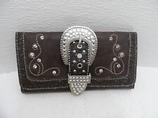 Country Road Wallet Rhinestone Embellished Brown Faux Leather - VGC