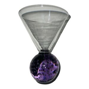 Vintage Controlled Bubble Martini Glass Purple Ball Base Weighted Stemless 5 In
