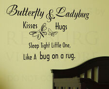 Wall Decal Quote Sticker Vinyl Lettering Butterfly Kisses Sleep Tight Baby B25