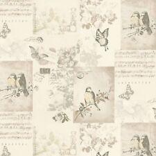 SONGBIRD NEUTRAL WALLPAPER BIRDS BUTTERFLIES FLOWERS CREAM SONG SHEET 11261